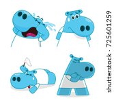 set of hippopotamus characters... | Shutterstock .eps vector #725601259