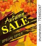 sign autumn sale. vertical... | Shutterstock . vector #725602267