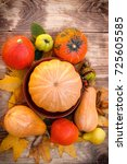 autumn fruit and vegetable ... | Shutterstock . vector #725605585