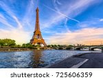 paris eiffel tower and river... | Shutterstock . vector #725606359