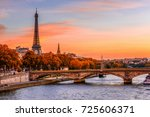 sunset view of eiffel tower and ... | Shutterstock . vector #725606371
