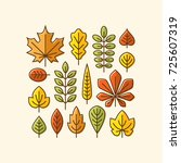 colorful autumn leaves line... | Shutterstock .eps vector #725607319