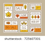colorful autumn sale labels ... | Shutterstock .eps vector #725607331