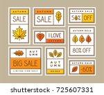 colorful autumn sale labels ... | Shutterstock .eps vector #725607331