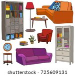 set of modern furniture objects ... | Shutterstock . vector #725609131