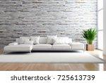 modern bright interiors. 3d... | Shutterstock . vector #725613739