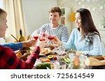 group portrait of friends... | Shutterstock . vector #725614549