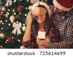 young couple have christmas... | Shutterstock . vector #725614699