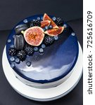 blue chocolate cake covered... | Shutterstock . vector #725616709