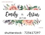 Stock vector wedding invite invitation save the date card floral watercolor style design lavender antique pink 725617297