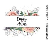vector floral design card boho... | Shutterstock .eps vector #725617321