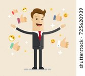 happy and proud businessman... | Shutterstock .eps vector #725620939