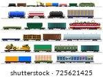 cargo train cars. railway... | Shutterstock .eps vector #725621425