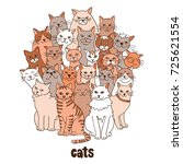 group of hand drawn cats ... | Shutterstock .eps vector #725621554