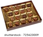 chocolate candies box isolated...   Shutterstock . vector #725623009