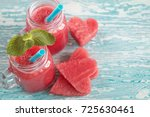 watermelon smoothie on a wooden ... | Shutterstock . vector #725630461