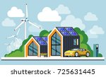 energy saving house. ecological ... | Shutterstock .eps vector #725631445