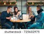 group of young people sitting... | Shutterstock . vector #725632975