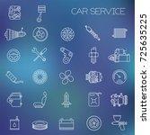 thin line flat design car... | Shutterstock .eps vector #725635225