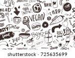 seamless modern vegan pattern... | Shutterstock .eps vector #725635699