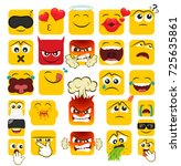 set of square emoticons with... | Shutterstock .eps vector #725635861