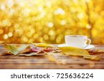 cup of hot tea or coffee on... | Shutterstock . vector #725636224
