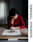 female artist thinks of... | Shutterstock . vector #725636851