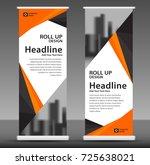 orange roll up banner stand... | Shutterstock .eps vector #725638021