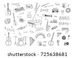 hand drawn doodle musical... | Shutterstock . vector #725638681