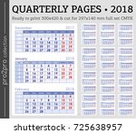 quarterly pages 2018 year set... | Shutterstock .eps vector #725638957