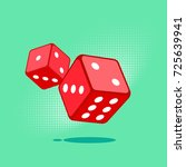 two red dices on green... | Shutterstock .eps vector #725639941