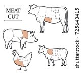 diagram of cutting meat. set of ... | Shutterstock .eps vector #725643415