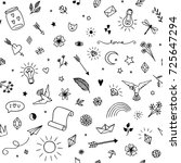 seamless pattern with various... | Shutterstock .eps vector #725647294