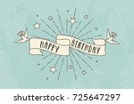 vintage banner with birds and... | Shutterstock .eps vector #725647297