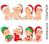 Cute Little Babies In Santa's...
