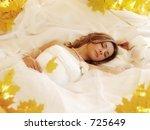 beautiful bride sleeping on... | Shutterstock . vector #725649