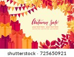 various autumn leaves  flags ... | Shutterstock .eps vector #725650921