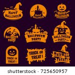 set of stylized halloween logos ... | Shutterstock .eps vector #725650957