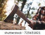 strong lumberjack in plaid... | Shutterstock . vector #725651821