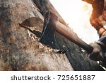 strong logger worker cuts tree... | Shutterstock . vector #725651887
