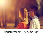 portrait of happy young couple... | Shutterstock . vector #725655289