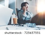 coworking place situation.... | Shutterstock . vector #725657551