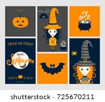 halloween set. cute witch in... | Shutterstock .eps vector #725670211