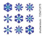 blue snowflakes set isolated  ... | Shutterstock .eps vector #725671975