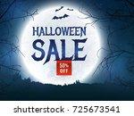 halloween discount banner.... | Shutterstock .eps vector #725673541