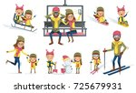 winter activities father ... | Shutterstock .eps vector #725679931
