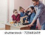 stem education. teenagers with... | Shutterstock . vector #725681659