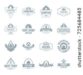 camping tent logo icons set.... | Shutterstock .eps vector #725684485