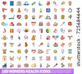 100 womens health icons set in... | Shutterstock .eps vector #725684644
