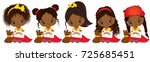 vector cute little african... | Shutterstock .eps vector #725685451